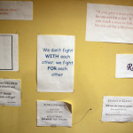 Messages of positive reinforcement decorates a wall in the game room at the Triad House in Trenton.